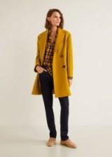 MANGO Unstructured virgin wool coat in mustard | yellow oversized autumn coats