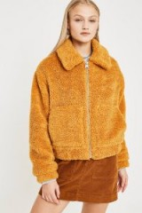 UO Marigold Teddy Crop Jacket in Yellow