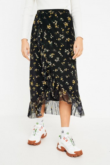 UO Mesh Frill Midi Skirt in Black Multi / floral fashion