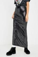UO Sparkle Slit Maxi Skirt in Black