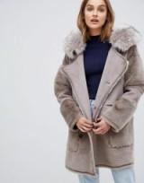 Urban Code Azza reversible duffle coat in Praline – luxe style faux fur winter coats