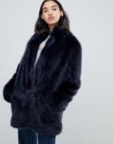 Urban Code Bailey faux fur car coat in Navy – luxe blue fluffy winter coat