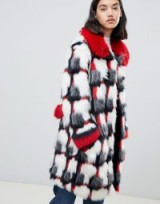 Urban Code printed patchwork faux fur coat in Blizzard – luxe winter coats