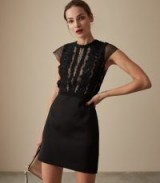 REISS VERIANA LACE BODICE DRESS BLACK ~ glamorous lbd