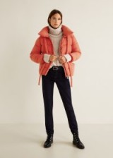 MANGO Water-repellent quilted coat in orange | bright padded winter jacket