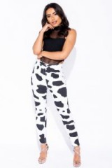 Parisian WHITE BLACK COW PRINT HIGH WAISTED JEGGINGS ~ monochrome skinnies
