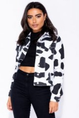 Parisian WHITE BLACK COW PRINT WESTERN DENIM JACKET ~ mono animal prints
