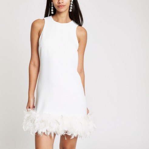 River Island White feather trim swing dress – LWD – party glamour