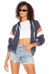 Wildfox Couture VARSITY STRIPE REGAN ZIP HOODIE in Oxford – sporty jackets