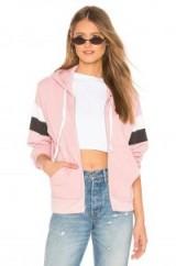 Wildfox Couture Taupe Rose VARSITY STRIPE REGAN ZIP HOODIE – pink hoodies