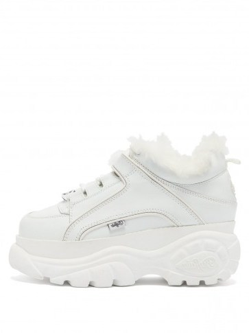 JUNYA WATANABE X Buffalo London white platform leather trainers | chunky faux fur lined sneakers - flipped