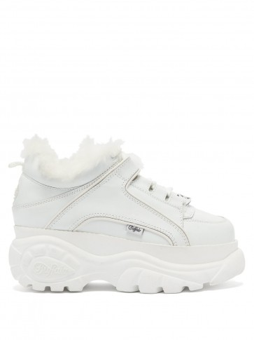 JUNYA WATANABE X Buffalo London white platform leather trainers | chunky faux fur lined sneakers