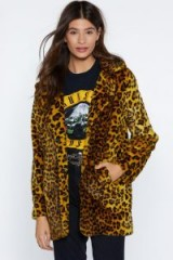 NASTY GAL Yellow Leopard Faux Fur Coat – animal prints