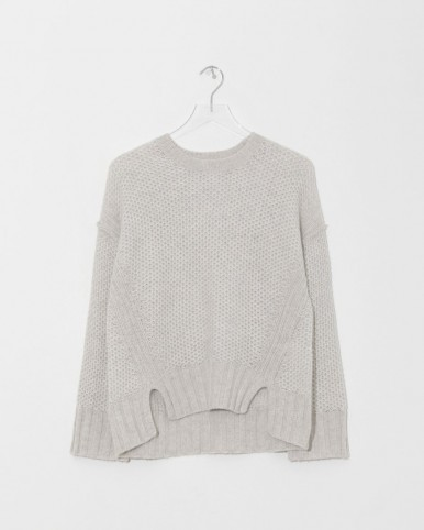 ZADIG & VOLTAIRE craie mark deluxe cashmere crewneck in grey ~ honeycomb knits