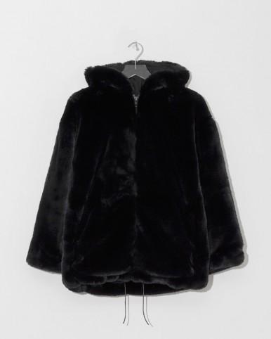 ZADIG & VOLTAIRE noir malia oversize faux mink bomber in black