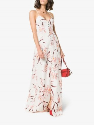 Zimmermann Cream, Brown And Pink Corsage Orchid Print Slip Dress / floral maxi