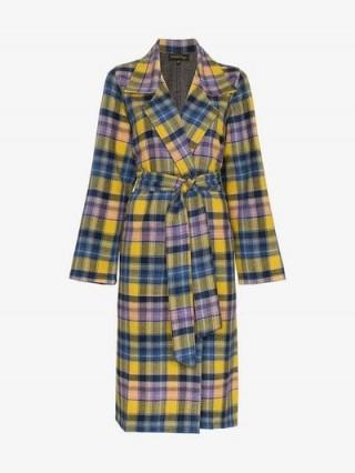 A Peace Treaty Blue, Yellow and Purple Checked Clarke Merino Wool Coat