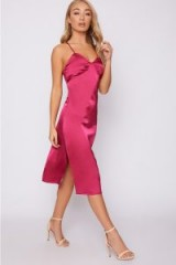 IN THE STYLE ABIAH PINK SATIN MIDI SLIP DRESS – strappy party dresses