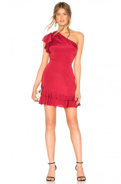 About Us BIANCA ONE SHOULDER DRESS in Wine | ruffle trim party dresses