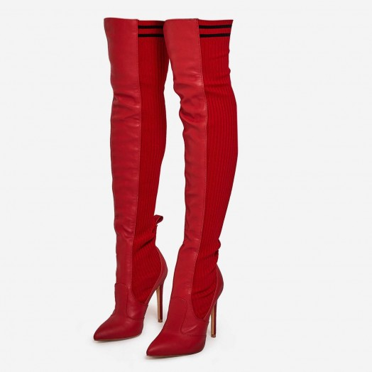 EGO Addicted Knitted Over The Knee Long Boot In Red Faux Leather – long sassy boots