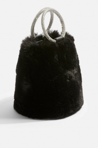 Topshop Adele Faux Fur Diamante Grab Bag in Black | sweet little party accessory