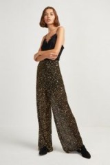 FRENCH CONNECTION AIDA SEQUIN WIDE LEG TROUSERS in Black/Gold | sparkly party pants