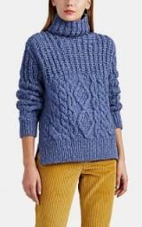 AKIRA NAKA Multi-Knit Blue Wool-Blend Sweater | chunky roll neck