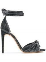 ALEXANDRE BIRMAN Grey bow detail glitter sandals in argent ~ shiny ankle wrap heels
