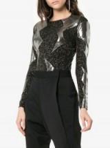Alexia Hentsch Metallic Lightning Black Glitter Bodysuit / silver paneled bodysuits