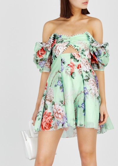 ALICE MCCALL Peony printed mint cotton-blend mini dress