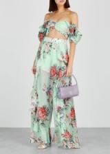ALICE MCCALL Secret Garden mint cotton-blend trousers / floral pants