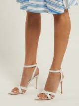 GIANVITO ROSSI Alixia 105 white leather sandals – cross front ankle strap shoes