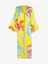 All Things Mochi Camila Side Split Kimono in Yellow – bold floral printed cover-up