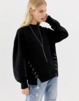 AllSaints Mora sweat top with hardware in black