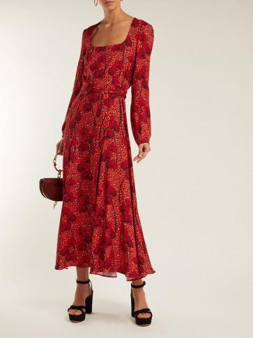 BORGO DE NOR Annabella cheetah-print crepe dress in red / feminine style dresses