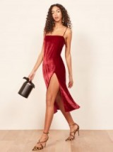 Reformation Ariana Dress in Crimson | red front slit party dresses