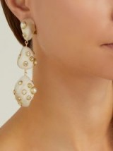 VANDA JACINTHO Artsy pearl and crystal-embellished white resin drop earrings