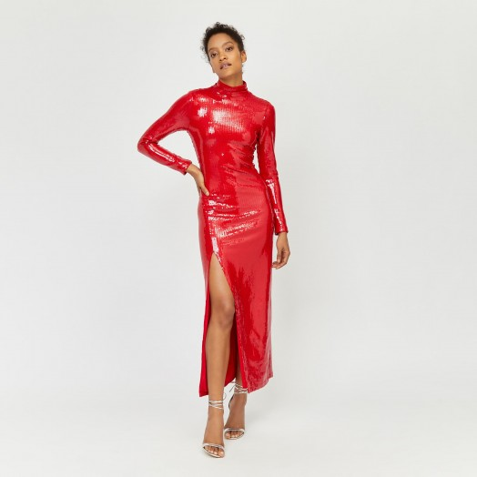 WAREHOUSE x ASHISH SEQUIN MAXI DRESS in Bright Red | party glamour
