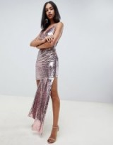 ASOS DESIGN cami all over sequin mini dress with ruched side in pale pink – metallic party dresses