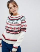 ASOS DESIGN fairisle JOYEUX NOEL slogan christmas jumper | Xmas sweater
