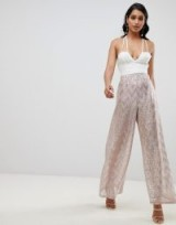 ASOS DESIGN occasion wide leg trouser with scatter glitter in blush – pale-pink party trousers