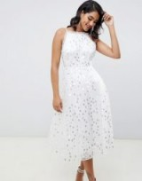 ASOS EDITION halter midi dress in embroidered sequin in white – sequined fit and flare party dresses
