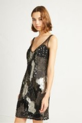 FRENCH CONNECTION ASTARA PATCHWORK SEQUIN V NECK DRESS