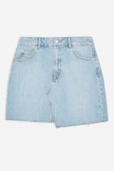 Topshop Asymmetric Denim Mini Skirt in Mid Stone   light blue raw hem mini