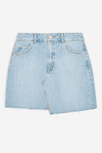 Topshop Asymmetric Denim Mini Skirt in Mid Stone | light blue raw hem mini