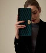 Reiss AUDLEY VELVET CLUTCH BAG EMERALD | green luxe handbag