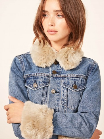 Reformation Aussie Jacket in Vintage Wash | faux fur trimmed denim