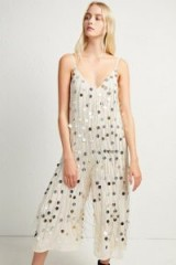 FRENCH CONNECTION BAANI FRINGE EMBELLISHED JUMPSUIT in Classic Cream | sequinned party fashion