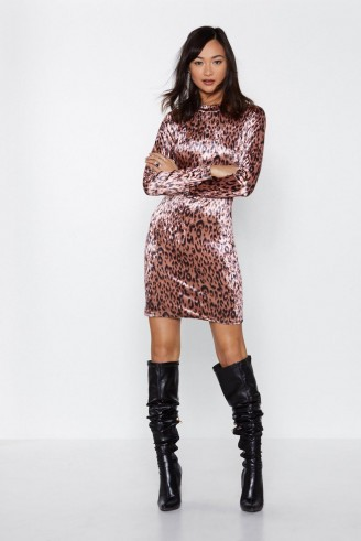 NASTY GAL Bad Kitty Leopard Dress in Pink