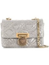 BALMAIN Grey covered plastic crossbody bag ~ Balmain quilted flap bag